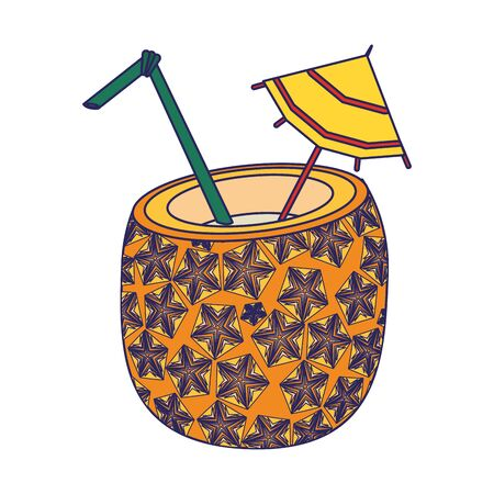 pineapple cocktail beverage with umbrella and straw icon cartoon vector illustration graphic design