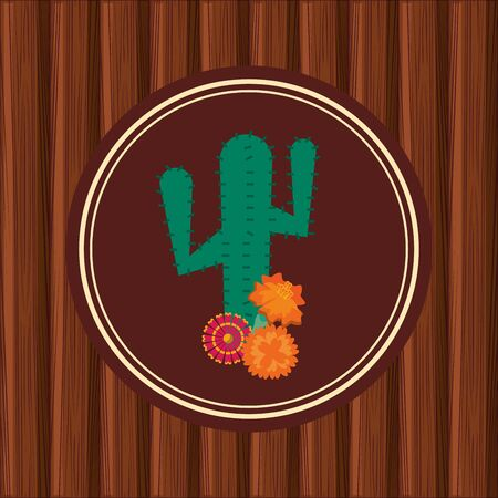 cactus plant and flowers mexican culture vector illustration design