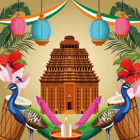 India national monument with peacock, drums, candle and fireworks. India tourism and architecture. vector illustration graphic design Illustration