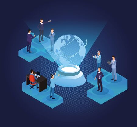 isometric businessmen working in the office with technology over blue digital background vector illustration graphic design