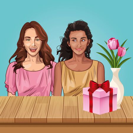Pop art beautiful women smiling with casual clothes seated on table with gift box and flower vase ,vector illustration graphic design.