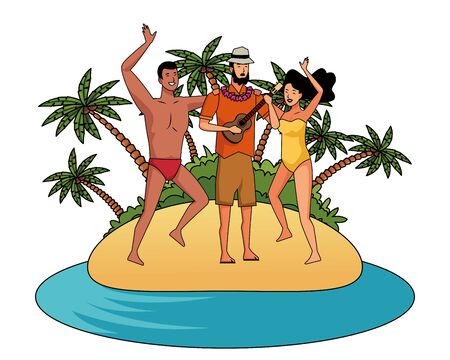 Young people enjoying summer in swimsuit playing guitar cartoons on beach scenery vector illustration graphic design