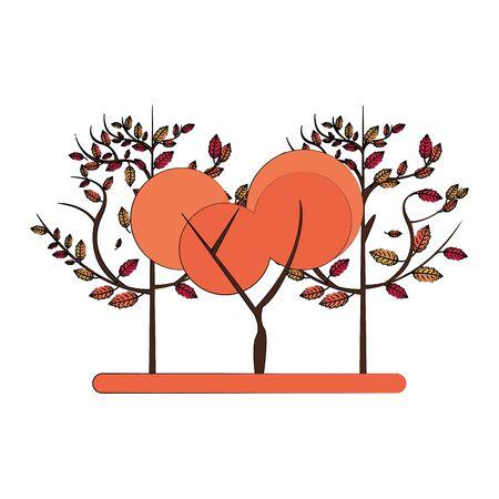 Autumn season trees and leaves nature cartoon vector illustration graphic design Illustration