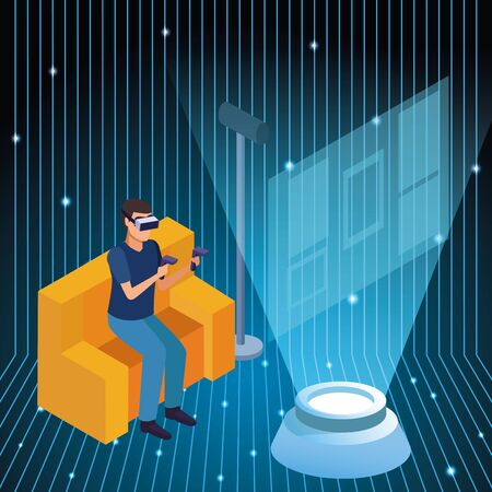 Young man seated on sofa playing virtual reality technology with gamepads vector illustration