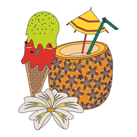 summer beach and vacation with pineapple beverage and ice cream icon cartoons vector illustration graphic design
