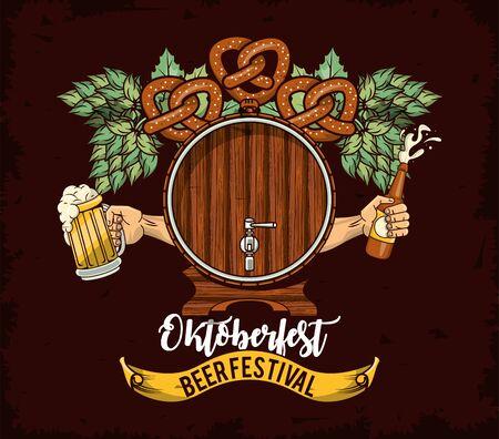 Oktoberfest Celebration poster design with beer barrel, vector illustration