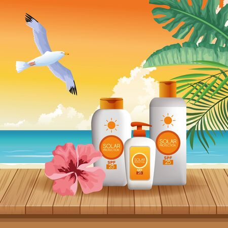 Solar protection bottles products for summer with bird flying and flower on beach background vector illustration graphic design