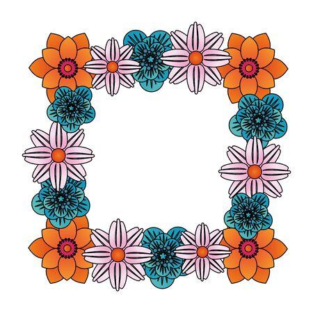 flowers tropical spring floral frame cartoon vector illustration graphic design