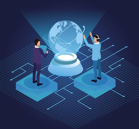 Friends playing with virtual reality glasses and world hologram on blue background with game graphs vector illustration graphic design Ilustracja