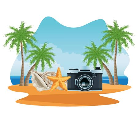 Summer drinks and cocktail on beach scenery, tropical fruits juice and vacations cartoons. vector illustration graphic design