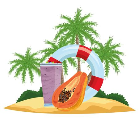 summer beach and vacation with lifebuoy, tropical fruit and smoothie drink icon cartoon over the beach with palms vector illustration graphic design