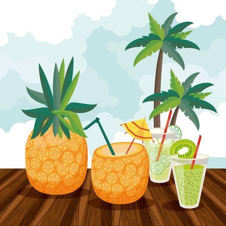Summer drinks and cocktails cartoons pineapple and lemonades on wooden floor vector illustration graphic design Illustration