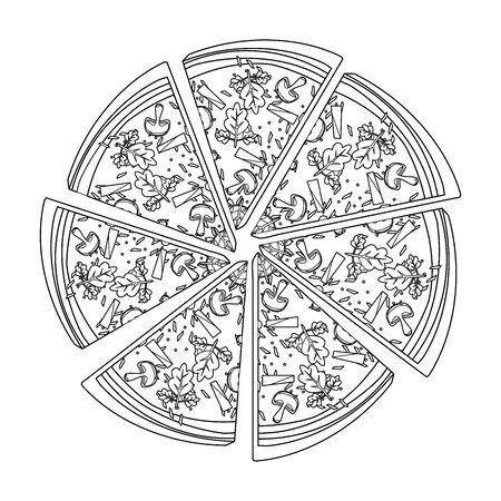 roud pizza slices over white background, vector illustration Reklamní fotografie - 134903585