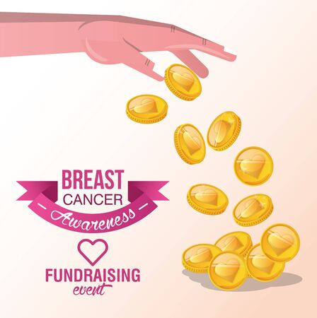 Breast Cancer Awareness Fundraise design with heart and coin, vector illustration Standard-Bild - 134928196