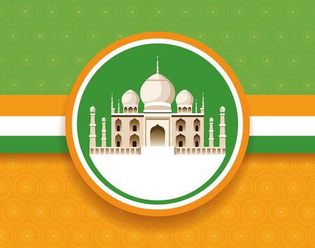 India national monument round frame on flag, green yellow and white colors. vector illustration graphic design Illustration