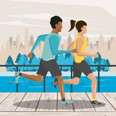 Fitness frineds couple running in the city park scenery vector illustration graphic design Фото со стока - 134911889