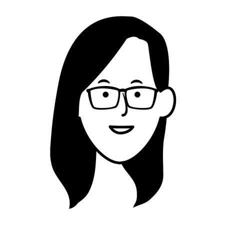 Cartoon woman with glasses icon over white background, vector illustration