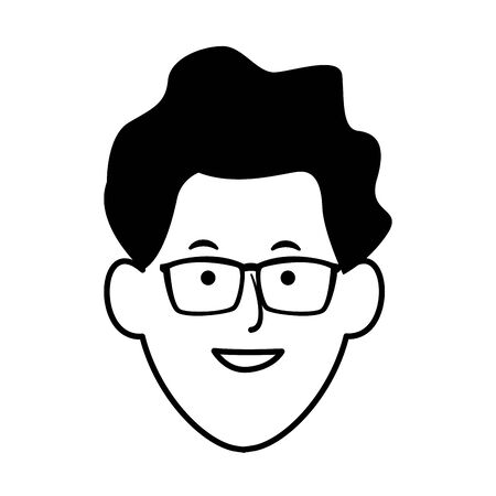 cartoon man with glasses icon over white background, vector illustration Stock Illustratie