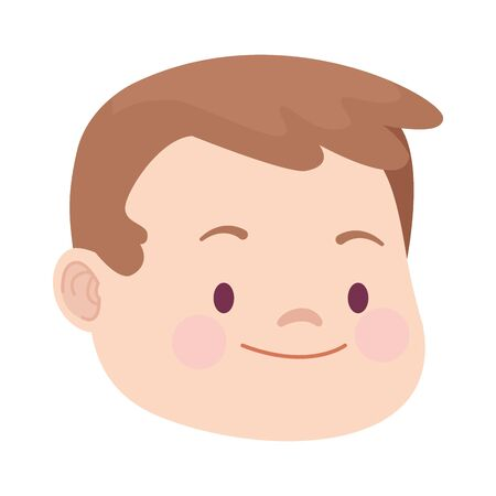 cute cartoon boy face icon over white background, colorful design. vector illustration Illustration