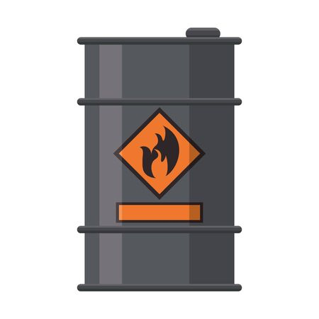 Petroleum oil barrel with flamme label vector illustration graphic design Illusztráció