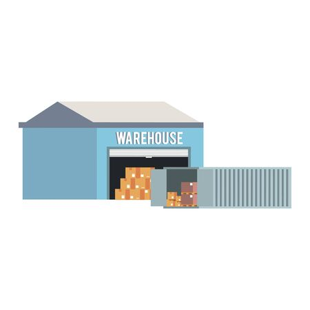 Warehouse storage with container and boxes vector illustration 일러스트