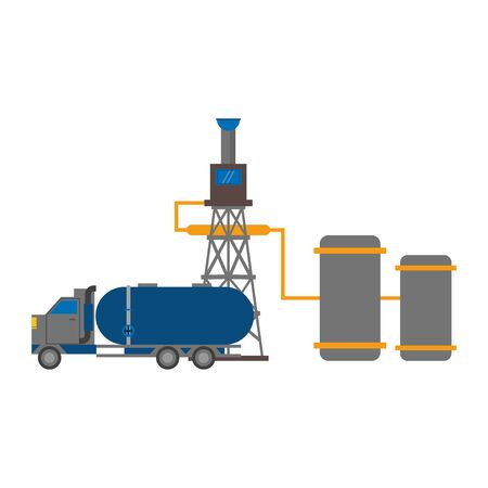 oil refinery gas factory industry petrochemical petroleum oil rig plant with shipping truck cartoon vector illustration graphic design Illusztráció