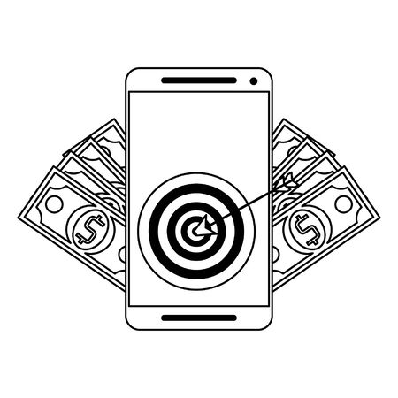 Smartphone with target and money symbols vector illustration graphic design 向量圖像