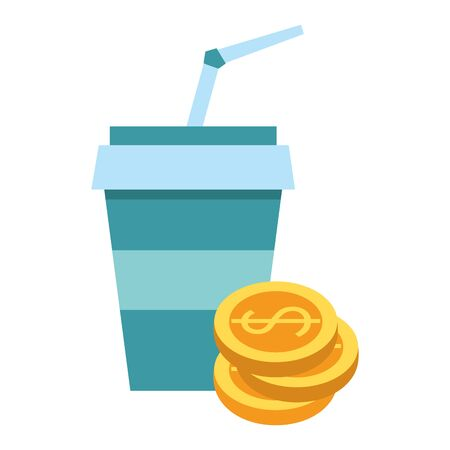 Drink soda cup with coins stacked symbol vector illustration graphic design