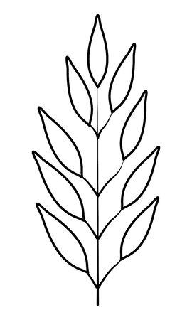 exotic tropical leaves icon cartoon in black and white vector illustration graphic design Ilustracja