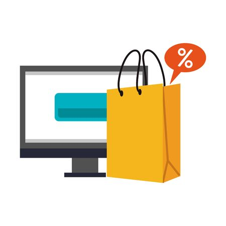 online shopping ecommerce sale, buying by computer cartoon vector illustration graphic design 向量圖像