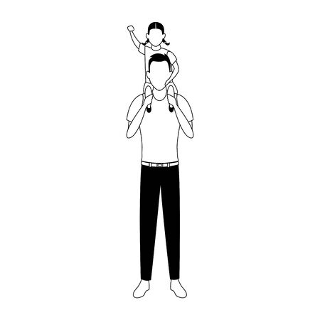 avatar man with little girl in his shoulders over white background, vector illustration Archivio Fotografico - 134947415
