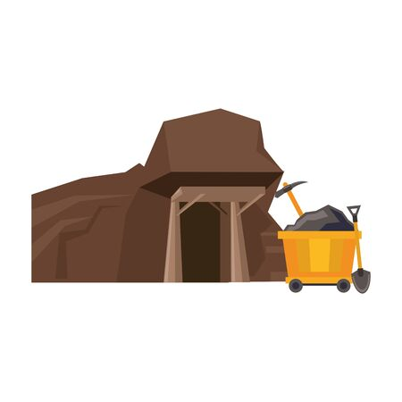 Minin carrier with pick and shovel in mine vector illustration graphic design