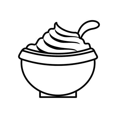 thanksgiving traditional food in bowl vector illustration design Çizim