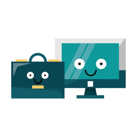 Computer screen and briefcase smiling cartoons vector illustration graphic design Illustration