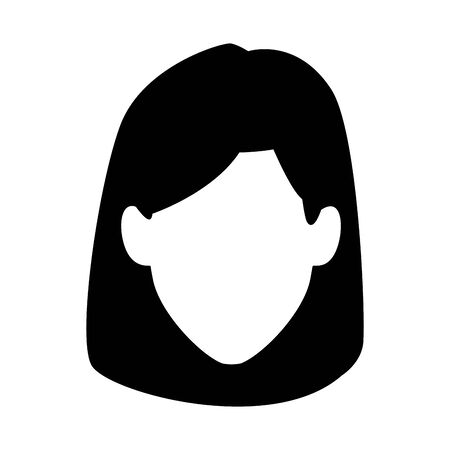 default woman face icon over white background, vector illustration 向量圖像
