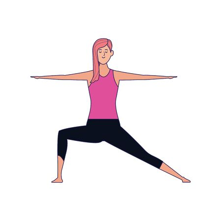 woman practicing yoga pose icon over white background, colorful design , vector illustration Archivio Fotografico - 134950110