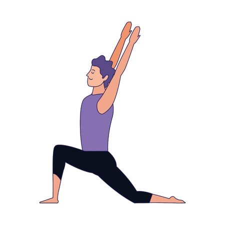 young man practicing yoga icon over white background, vector illustration Archivio Fotografico - 134950166