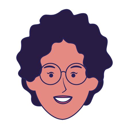 woman with curly hair and glasses icon over white background, vector illustration Archivio Fotografico - 134950140