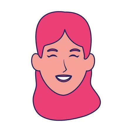 happy woman face icon over white background, vector illustration Archivio Fotografico - 134950142