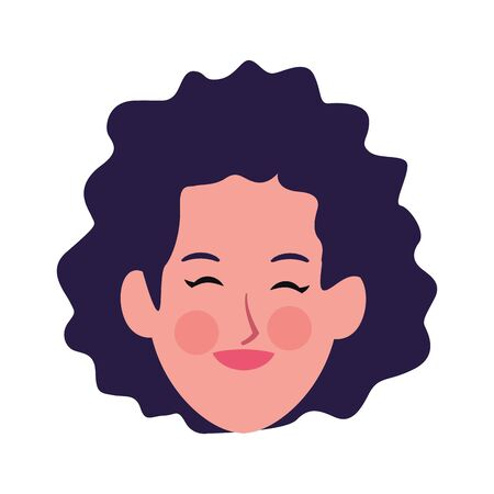 woman with curly hair icon over white background, vector illustration Archivio Fotografico - 134958138
