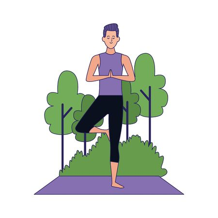 cartoon man doing yoga tree pose at outdoors with trees over white background, colorful design , vector illustration Archivio Fotografico - 134958139