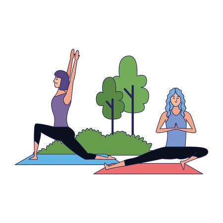 young women practicing yoga at outdoors icon over white background, vector illustration Archivio Fotografico - 134961876