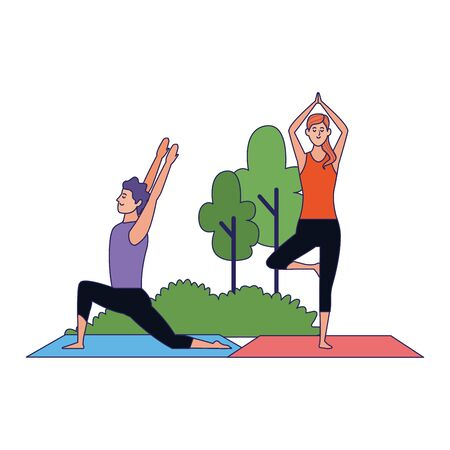 cartoon man and woman doing yoga poses at outdoors with trees over white background, colorful design , vector illustration Archivio Fotografico - 134961898