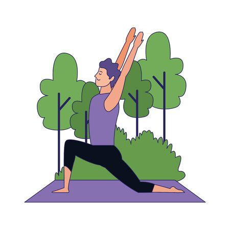 man practicing yoga pose at outdoors over white background, vector illustration Archivio Fotografico - 134959791