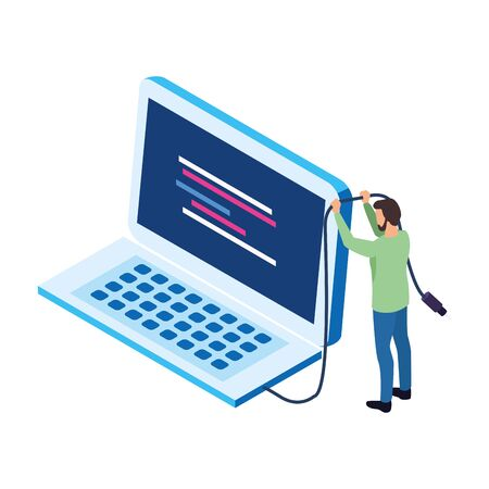 avatar man with big laptop computer icon over white background, vector illustration Stock Vector - 134961905