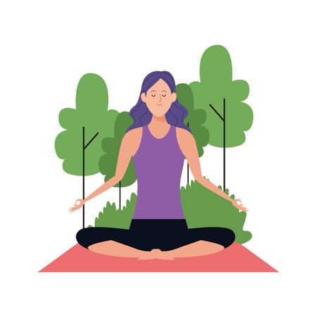 woman practicing yoga at outdoors icon over white background, vector illustration Archivio Fotografico - 134959799