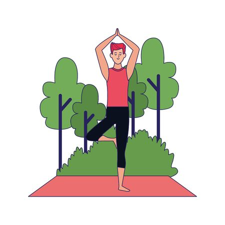 man practicing yoga at outdoors over white background, vector illustration Archivio Fotografico - 134961927
