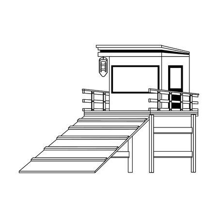 beach lifeguard tower icon over white background, vector illustration