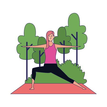 woman doing yoga at outdoors with trees over white background, colorful design , vector illustration Archivio Fotografico - 134958612
