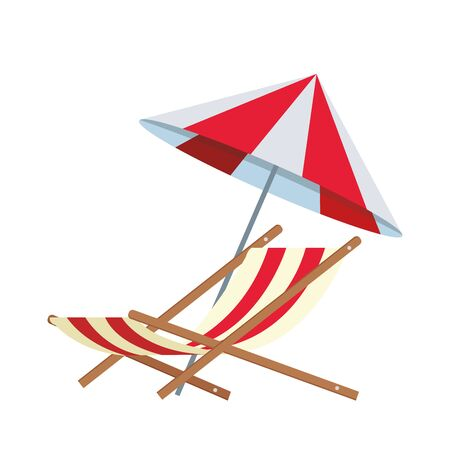 beach parasol and seat icon over white background, vector illustration